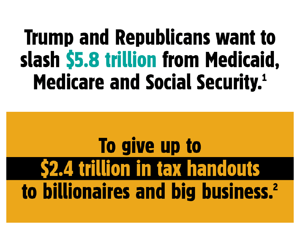 Trump and the GOP want to cut trillions from Medicaid, Medicare, and Social Security to give tax handouts to billionaires and big business.
