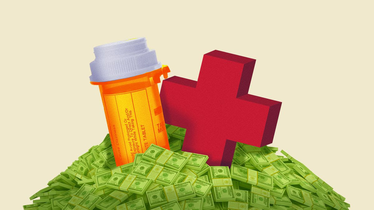 Illustration of a pill bottle and a large red cross atop a pile of money