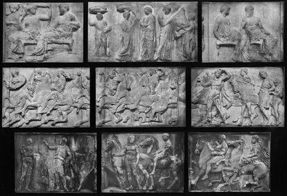 Escultura en relieve del Partenón que muestra la procesión de las fiestas religiosas de las Panateneas.