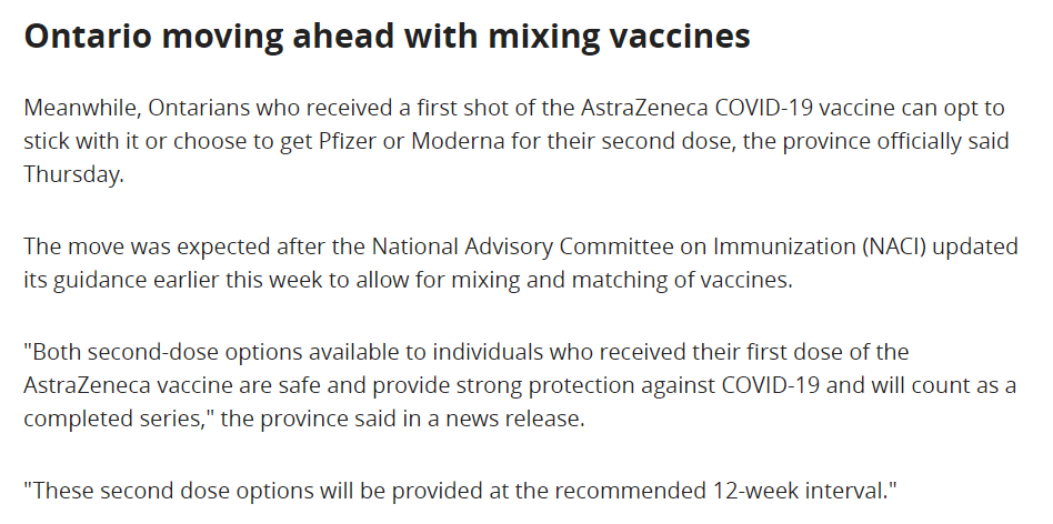 Screenshot of news story about vaccine