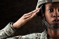 Woman veteran salute