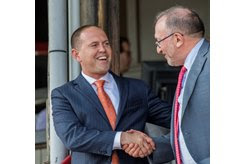 (L-R): Chad Brown is congratulated by owner Seth Klaravich after winning his 41st race of the 2018 meet at Saratoga Race Course
