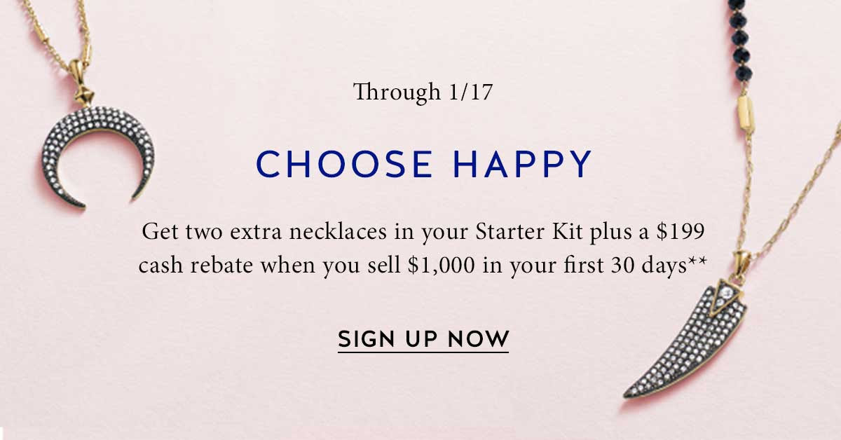 Through 1/17, get 2 extra necklaces in your Startet Kit plus a $199 cash rebate when you sell $1,000 in your first 30 days**