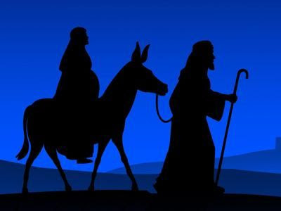 Image result for joseph and mary on their way to bethlehem