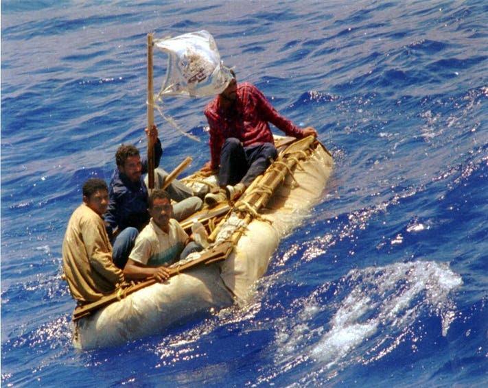 Cuban refugees on a raft