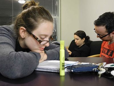 Ivy, Sable, Brendan studying