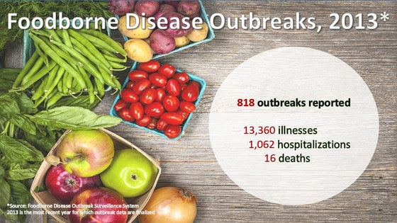 Foodborne Disease Outbreaks in 2013--818 outbreaks reported with 13,360 illnesses, 1,062 hospitalizations, and 16 deaths.