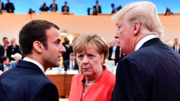 Emmanuel Macron, Angela Merkel y Donald Trump en la cumbre del G-20 celebrada en Hamburgo, Alemania, en 2017.