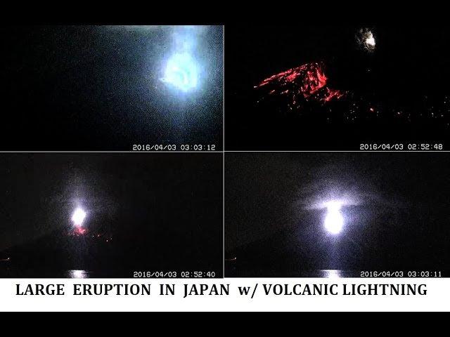 4/03/2016 -- Amazing Eruption in South Japan at Sakurajima Volcano -- Static Discharge Lightning  Sddefault