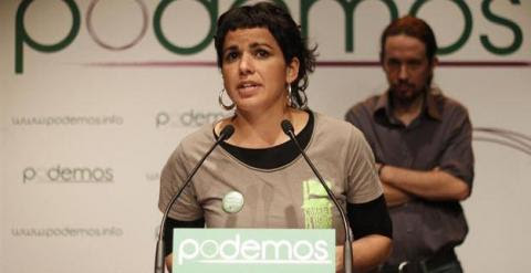 Teresa Rodríguez en un acto de Podemos.