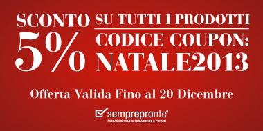 Sconto del 5% su tutti i prodotti disponibili su Semprepronte.it! Codice Coupon: NATALE2013. Valida fino al 20 Dicembre
