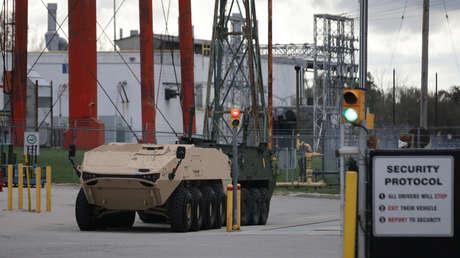 Vehículos blindados estacionados cerca de una fábrica de GDLS en Ontario, 23 de octubre de 2018.