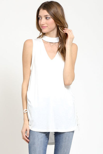 jersey choker v-neck top with ruched drawstring sides