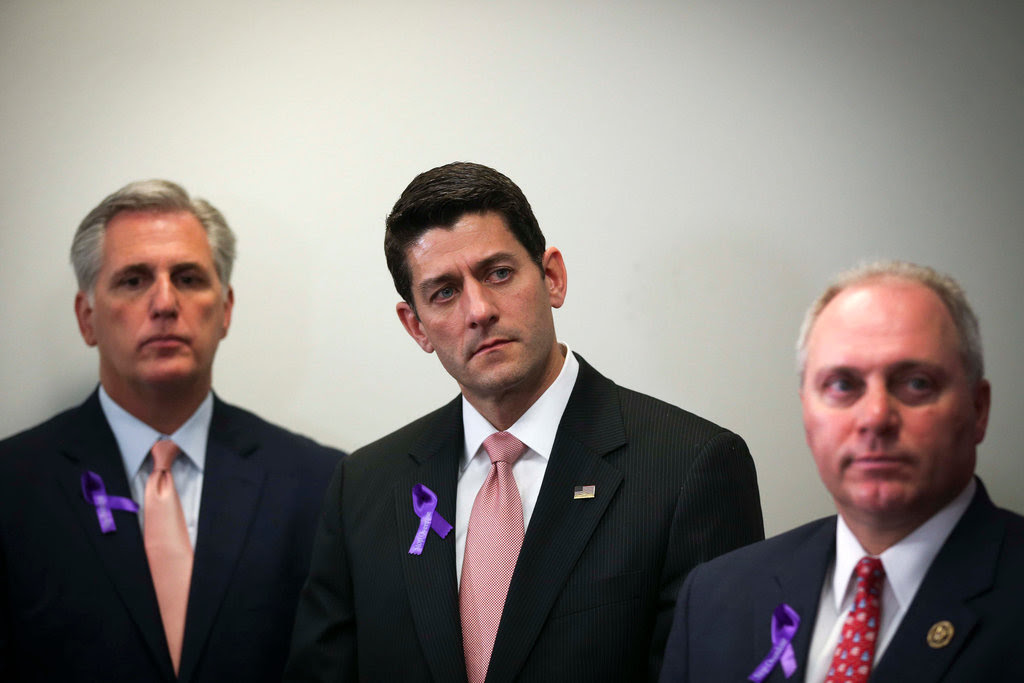 From left, the House majority leader, Representative Kevin McCarthy; the House speaker, Paul D. Ryan; and the House majority whip, Representative Steve Scalise, at a House Republican conference on Capitol Hill, on Wednesday.