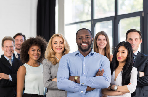 African American Businessman Boss With Group Of Business People In Creative Office_ Successful Mix Race Man Leading Businesspeople Team Stand Folded Hands_ Professional Staff Happy Smiling