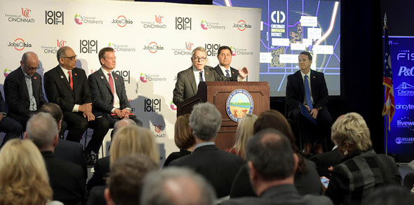 Governor DeWine and Lt. Governor Husted at Announcement in Cincinnati