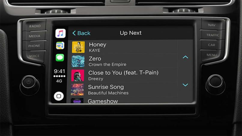 Apple CarPlay's music screen.