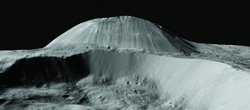 Perspective view of Ahuna Mons on Ceres from Dawn Framing Camera data (no vertical exaggeration). The mountain is 4 km high and 17 km wide in this south-looking view. Fracturing is observed on the mountain's top, whereas streaks from rockfalls dominate the flanks.  Via Science.