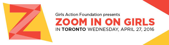 Girls Action Foundation presents Zoom in On Girls in Halifax Wednesday, May 27th 2015, header with white background and yellow and orange triangle shapes.