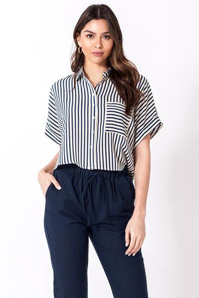 stripe short sleeve boxy button down bowler shirt