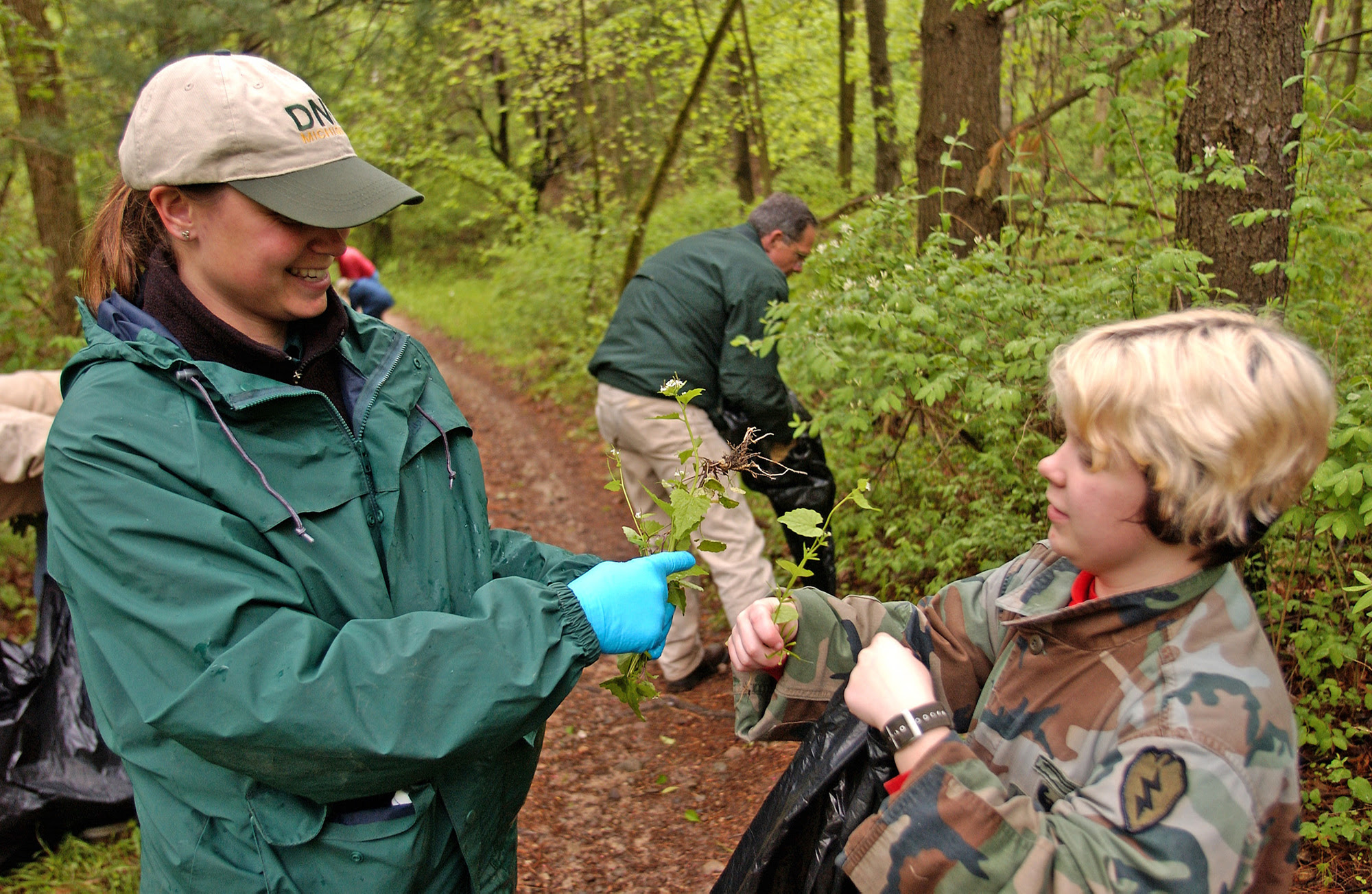Volunteers engaged in invasive plant removal at the Bald Mountain Recreation Area, near Lake Orion, Michigan.