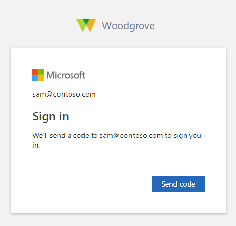 Screenshot showing the Send code button