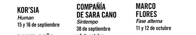 Kor'sia. Human. 14 y 16 de Septiembre //  Compañía de Sara Cano. Sintempo.  30 de septiembre y 1 de octubre //  Marcos Flores. Fase alterna. 11 y 12 de octubre.