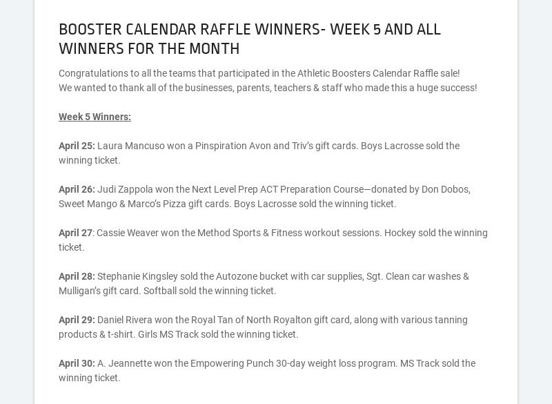 BOOSTER CALENDAR RAFFLE WINNERS- WEEK 5 AND ALL WINNERS FOR THE MONTH Congratulations to all the...