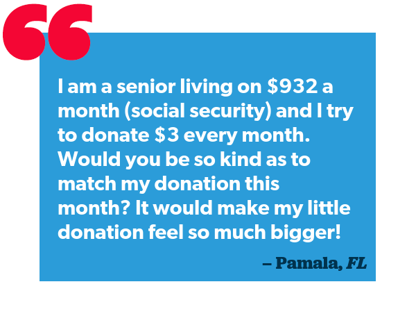 Quote from a Bernie supporter about why they contribute to our campaign.