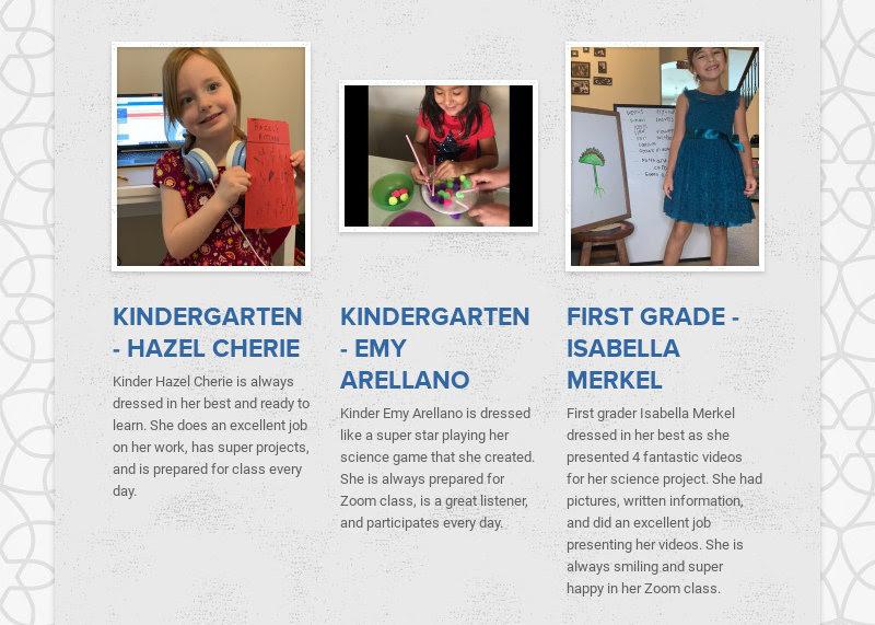 KINDERGARTEN - HAZEL CHERIE Kinder Hazel Cherie is always dressed in her best and ready to learn....