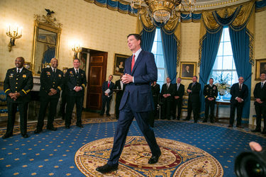 James B. Comey, the F.B.I. director, during a reception on Sunday for law enforcement officials and first responders at the White House.