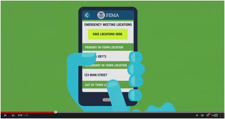 Shot of FEMA cell phone app for emergency preparedness