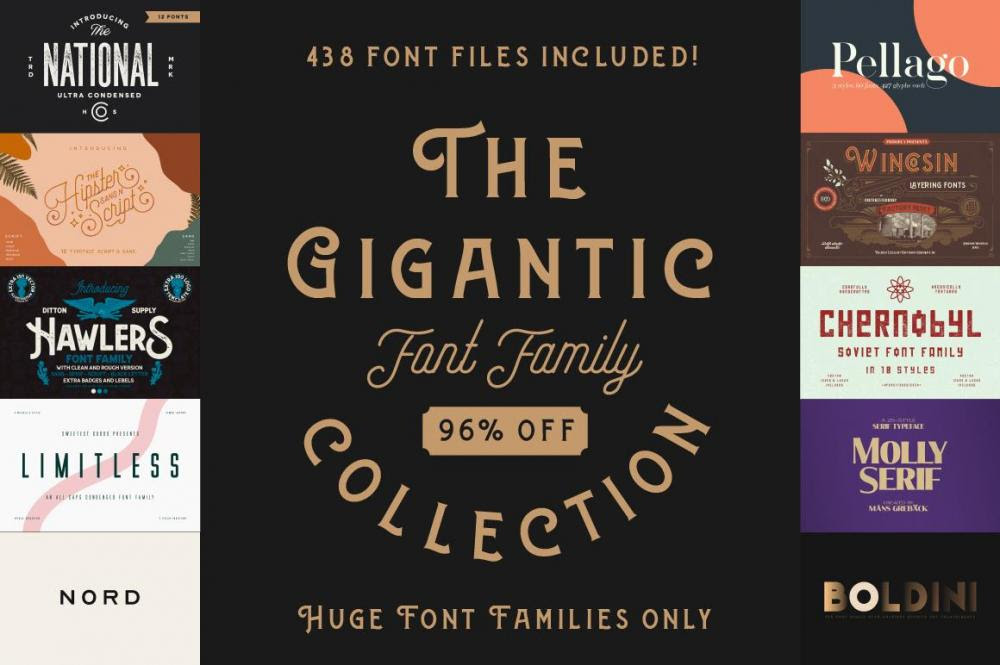 96% Off The Gigantic Font Family Collection
