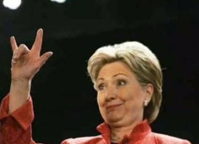 Image result for hillary hand sign