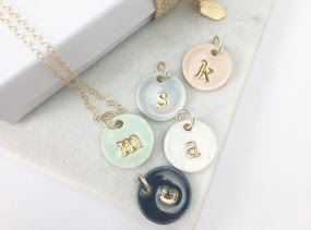 Single Initial Delicate Charm Necklace and chain - in 22k Gold Luster Overglaze on Ceramic Stoneware Includes Chain