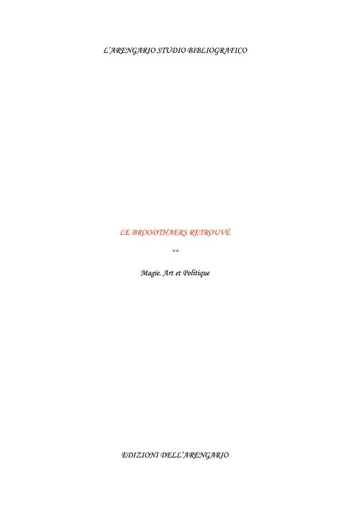 Le Broodthaers retrouvé - Vol 2