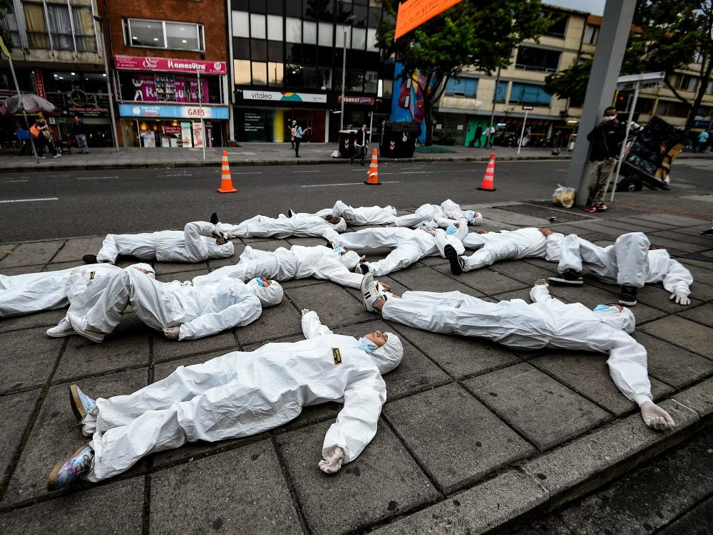 photo of a staged die-in