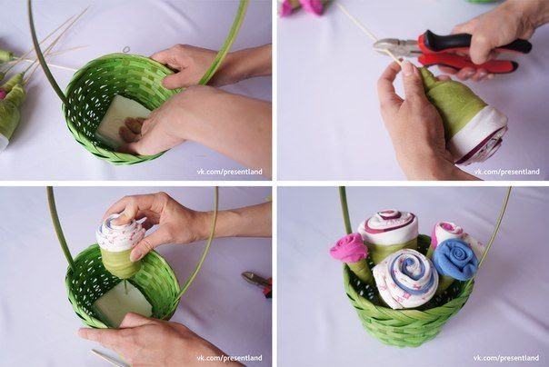 How to DIY  Baby Clothes Flower Bouquet 5