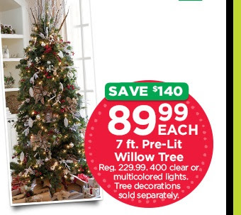 7 ft Pre-Lit Willow Tree