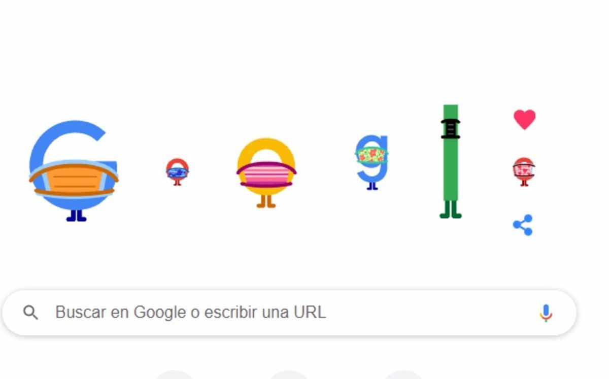 Así te invita el doodle de google a usar cubrebocas