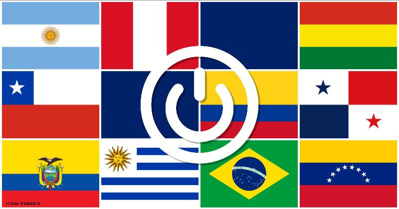 The flags of the ten new starter data kit countries that are now available: Argentina, Bolivia, Brazil, Chile, Columbia, Ecuador, Paraguay, Peru, Uruguay, and Venezuela
