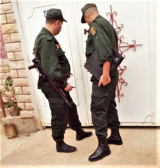 Police at doors of Church of Jesus Christ on Tuesday (Oct. 16) in Azaghar village, Akbou, Algeria. (Morning Star News)