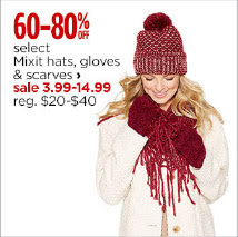 mixed hats, gloves and scarves