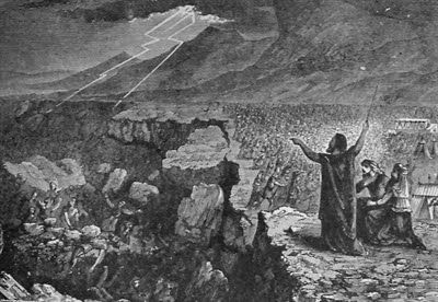 Destruction of Korah, Dathan, and Abiram,                 illustration from the 1890 Holman Bible