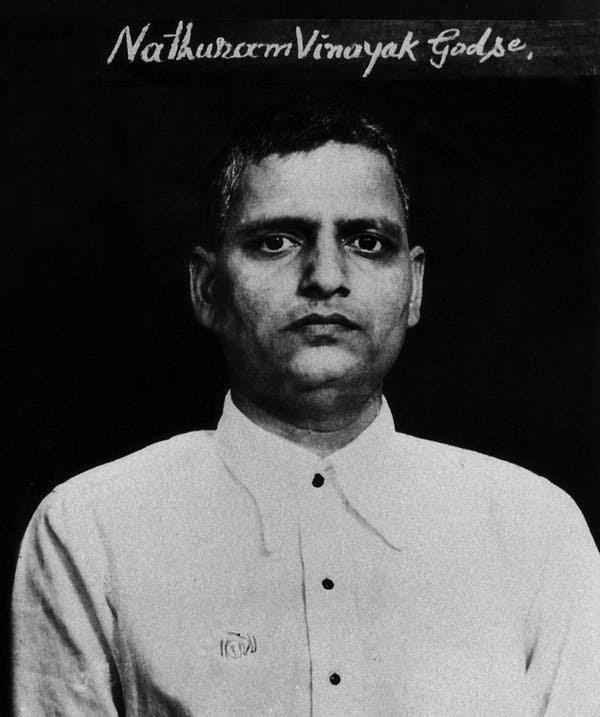 The mugshot of Nathuram Vinayak Godse, who assassinated Gandhi in 1948.