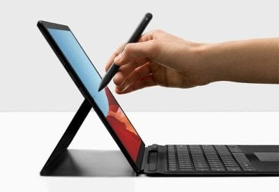 college student using a Microsoft Surface