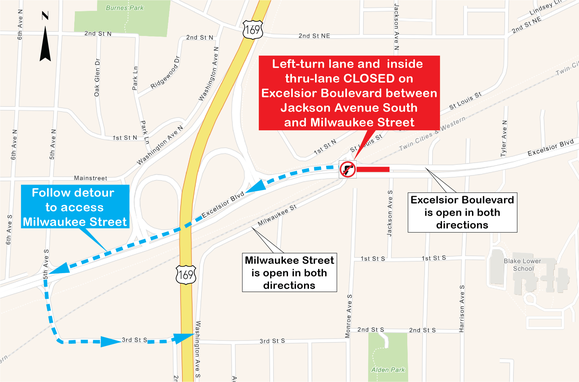 Excelsior Boulevard Left Turn to Milwaukee Detour