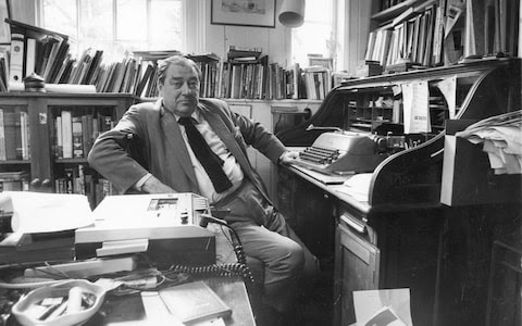 Arlott in his study, 1980: 'where a two-fingered typist belonged'