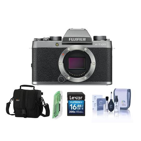 X-T100 Mirrorless Digital Camera Body, Silver - Bundle With 16GB SDHC Card, Camera Case, C