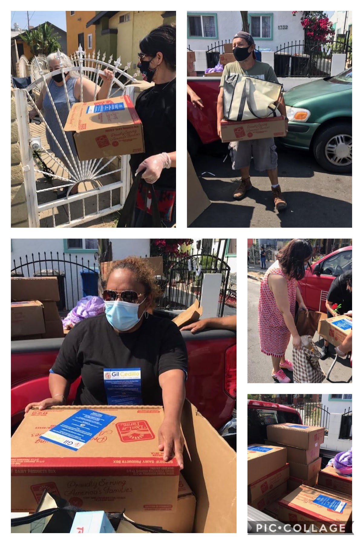 We Are LA distributed dozens of bags full of groceries to neighbors in West Adams 5-27-2020 COLLAGE
